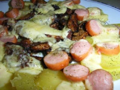 Pute: Balsamico-Putengeschnetzeltes in Kartoffel-Wurst-Nest - Rezept