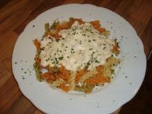 Nudelgericht - Grüne Nudeln mit Shrimps und Frischkäsesauce - Rezept