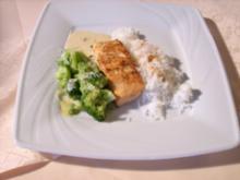 Gegrillter Lachs in Senf- Honigrahm mit Basmati-Reis und Butterbroccoli - Rezept