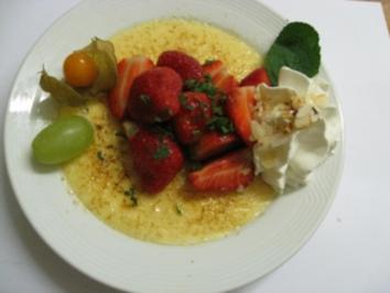 Creme Beulee'  mit marinierten Erdbeeren -Früchten - Rezept