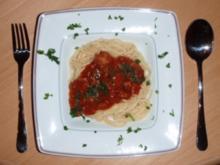 Spagetti mit Tomaten-Hackfleisch Soße - Rezept