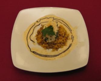 Fischroulade vom Steinbutt auf bunten Linsen - Rezept