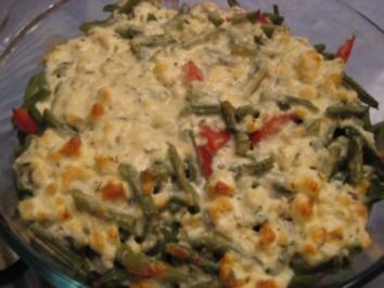 Rezept: Bohnenauflauf auf Hack mit Käsehaube