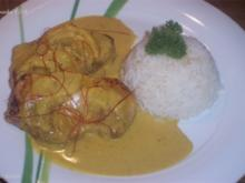 Schweinesteak mit fruchtiger Curry-Rahm-Soße - Rezept