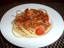 Bucatini mit Garnelen in asialenischer Soße - Rezept