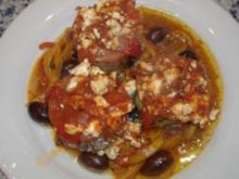 Köfte mit Schafskäse überbacken auf gerösteten Paprika - Rezept