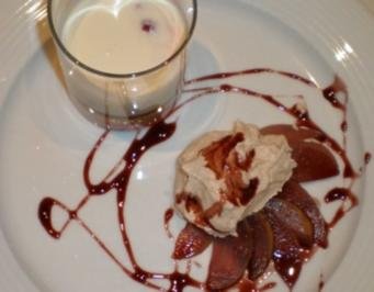 Rotweinbirnen mit Zimtcreme an weißem Schokoladen-Himbeer-Traum - Rezept