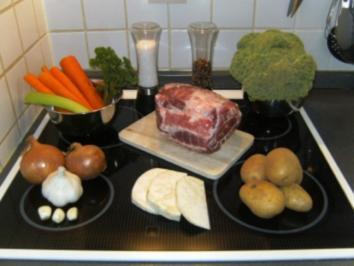 Schweinebraten  (für Anfänger) mit Broccoli und Kartoffeln - Rezept