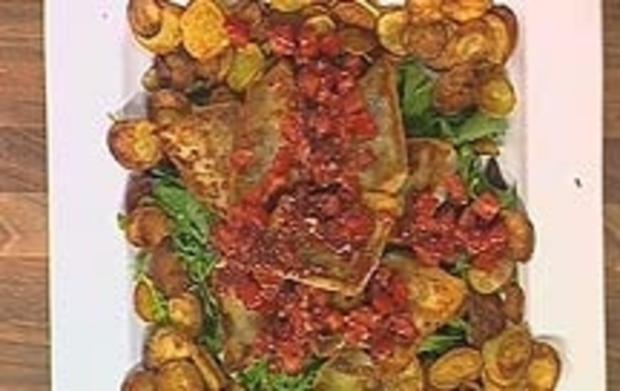 Zander auf crispy potatoes mit Tomatensalsa - Rezept