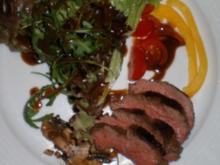 Salat mit Rinderstreifen an Senf-Zimtvinaigrette und Champignons - Rezept