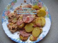 Hauptspeise: Bobbeles Kartoffel-Tomaten-Eier-Schichtpfanne - Rezept