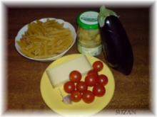 Auberginen, Tomaten und Penne - Rezept