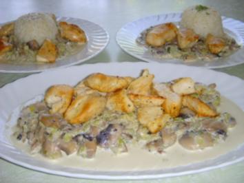 Hühnerfilet auf Rahmlauch mit Champignons - Rezept
