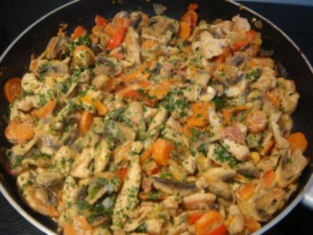 Fleischgerichte: Putengeschnetzeltes mit Pilzen und Reismischung - Rezept