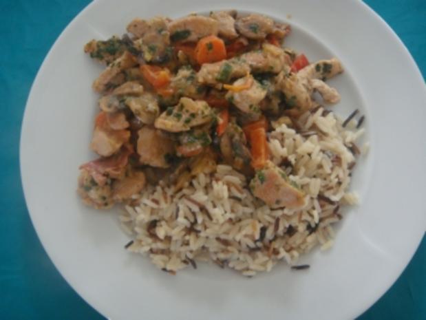 Fleischgerichte: Putengeschnetzeltes mit Pilzen und Reismischung - Rezept - Bild Nr. 2