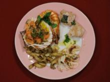 Tintenfisch-Carpaccio, Lachstatar, Tunfisch und Garnelen (Krystian Martinek) - Rezept
