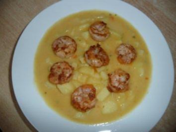 Cremige Kartoffelsuppe mit Scampis - Rezept