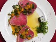 Gebeizter Tunfisch in Orangen-Kapernsoße - Rezept