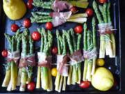 Gebratener Grüner Spargel mit Rosmarin, Sardellen und Speck - Rezept