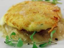 Mozzarella-Erdäpfelschnitzel auf Sauerkraut - Rezept
