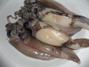 Gebratene Sepia (Tintenfisch) auf scharzen Bandnudeln mit Tomatensoße - Rezept
