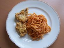 Schweinelendchen im Käsemantel mit tomatisierten Spaghetti - Rezept