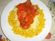 Kartoffelstampf mit Gulasch aus Soya und Mais- fuer Veganer und Vegetarier - Rezept