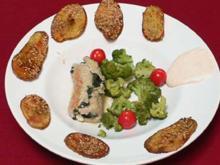 Gerolltes Putenfilet mit Spinatfüllung, Saisongemüse und Sesambackkartoffeln - Rezept - Bild Nr. 9