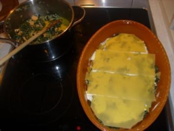 Spinat-Lachs-Schafskäse-Lasagne - Rezept