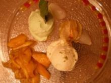 Litschi-Honig-Sorbet, Limette-Minze-Sorbe und karamellisierte Mangos - Rezept