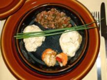 Lachswürfel mit Senfcreme und Jakobsmuschel - Rezept
