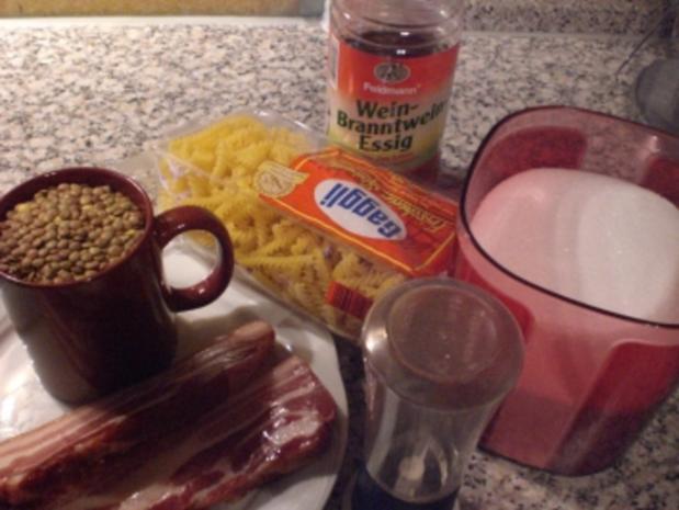 * Hauptgericht *Schwäbiasche Linsen süß-sauer mit Saitenwürstchen und Spätzle a la Matze - Rezept - Bild Nr. 2