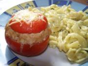 Überbackene Tomaten mit einer Hirtenkäsefüllüng - Rezept