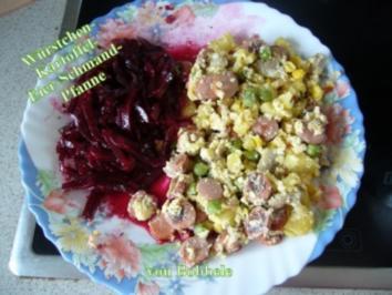 Hauptspeise: Würstchen-Kartoffel-Eier-Schmand-Pfanne - Rezept