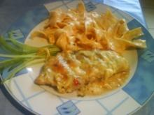 Naturschnitzel mit Bärlauch - Käse - Kruste und Paprika - Paperoni - Nudeln - Rezept