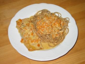 Lachs mit Spaghetti in Gorgonzola-Sahnesoße - Rezept