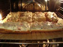 Abendbrot - Überbackene Baguettes mit Frischkäse  ( ein von mir geliebtes Abenbrot) - Rezept
