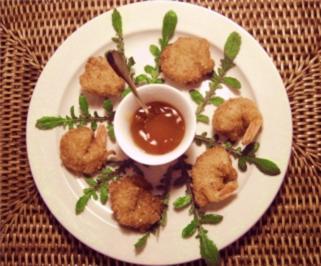 Garnelen frittiert im Zitronen-Chilli-Kokosnussmäntelchen - Rezept