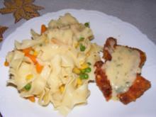 Parmesanschnitzel mit Gemüsenudeln und Zitronensauce - Rezept