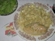 Hauptgericht: Hähnchenbrustfilet an Rahmsoße - Rezept