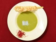 Schaumsüppchen von jungen Zuckerschoten mit Garnelenspieß (Joe Bausch) - Rezept