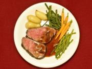 Ochsenfilet in Rotweinsoße mit Borger Zwergen und Minigemüse (Joe Bausch) - Rezept