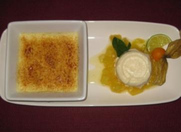 Zitronengras-Creme-Brulee mit Limettenparfait - Rezept