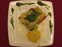 Zander im Zucchinimantel mit Kartoffeltarte und Senfschaum - Rezept
