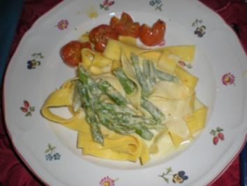 Grünes Spargelragout mit gegrillten Kirschtomaten - Rezept