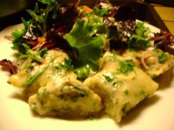 Pasta: Maultaschen in Rucola-Gorgonzola Sahne - Rezept