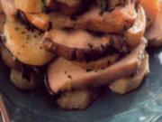 antipasti  kartoffelkuchen mit schinken und pilzen - Rezept