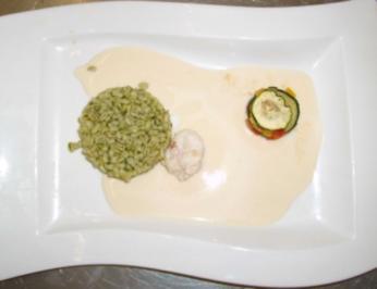 Gebratener Kaisergranat mit Risotto aus Zartweizen und Zucchini-Lasagne - Rezept