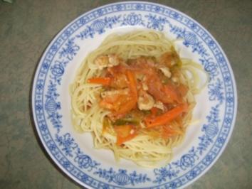 Hähnchenbrustfiletstreifen in Wermuth-Sauce zu Teigwaren - Rezept