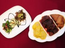 Tris vom Salat und Fleisch mit Gemüseallerlei an Käse (Giulia Siegel) - Rezept